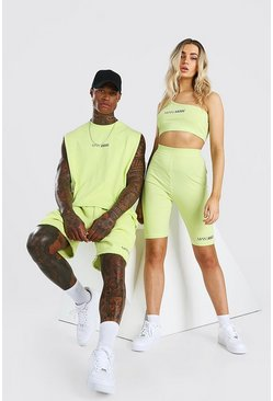 Yellow Abode Ladies Crop And Cycling Short Set