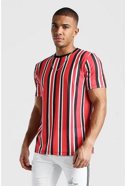 Red Vertical Stripe Print T-Shirt