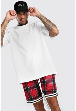 White Oversized Jersey T-Shirt And Basketball Short Set