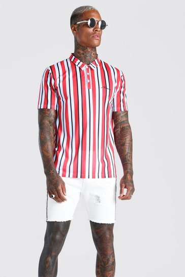 Red MAN Signature Vertical Stripe Polo