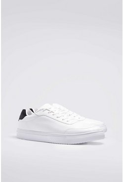 Lace Up Heel Tab Trainer, White