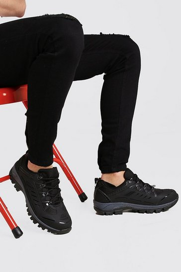 Black Festival Chunky Hiking Trainer