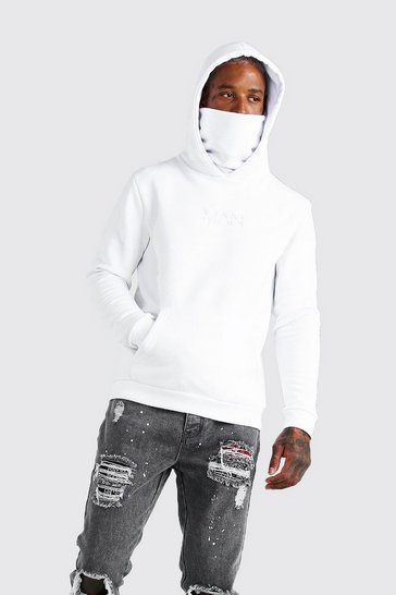 White MAN Official Hoodie With Snood