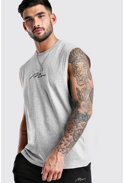 Grey marl MAN Signature Drop Armhole Tank