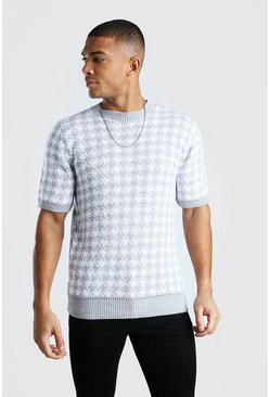 Regular-Fit Strick-T-Shirt mit Hahnentrittmuster, Grau