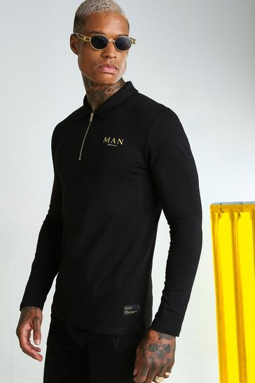 Black MAN Gold Muscle Fit Long Sleeve Zip Neck Polo