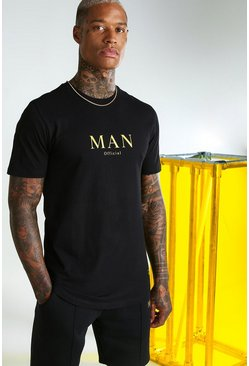Black Muscle Fit MAN Gold Curved Hem T-Shirt