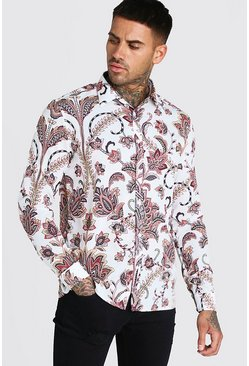 White Long Sleeve Floral Print Shirt