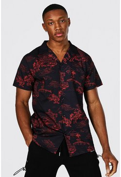 Short Sleeve Revere Collar Oriental Shirt, Black