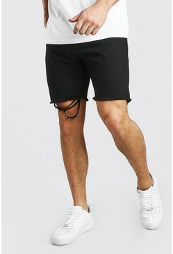 Black Slim Fit Denim Short With Distressed Raw Hem