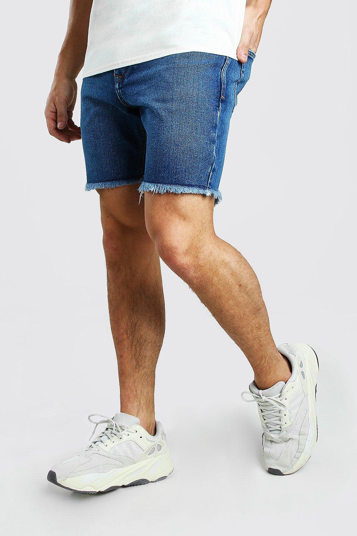 mens slim fit jean short with distressed raw hem - blue