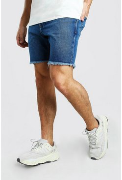 Slim Fit Denim Short With Distressed Raw Hem, Mid blue