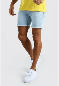 Ice blue Slim Fit Denim Shorts With Distressed Raw Hem