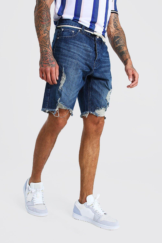 mens loose distressed jean short with shoelace belt - blue