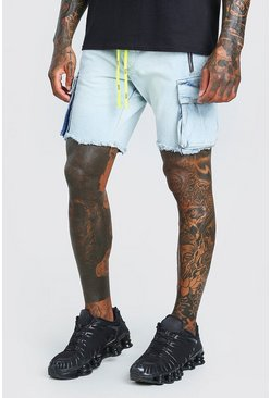 Light blue Slim Rigid Cargo Denim Shorts With Belt