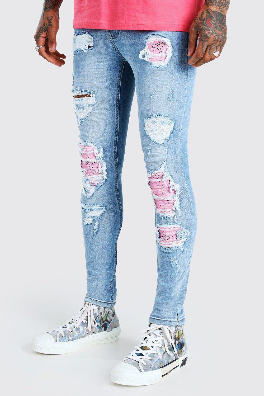 Vintage Style Menswear UK 1920s, 1930s, 1940s, 1950s, 1960s, 1970s Mens Skinny Fit Bleached Jeans - Blue $18.00 AT vintagedancer.com