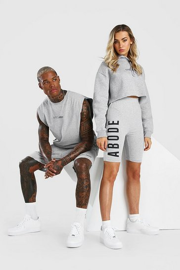 Grey marl Abode Ladies Cropped Hoodie