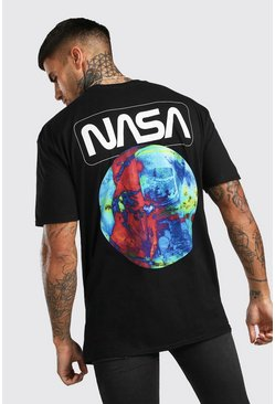 Black NASA Front & Back Print License T-Shirt