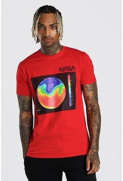 Red NASA Heat Print License T-Shirt