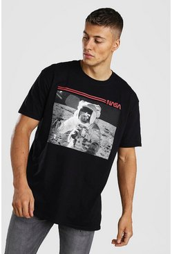Black Oversized NASA Moon Walker Print License T-Shirt