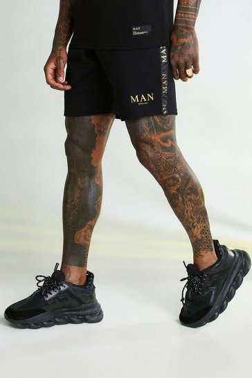 Black MAN Gold Shorts With Tape Waistband