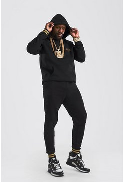 Black MAN Gold Hooded Tracksuit