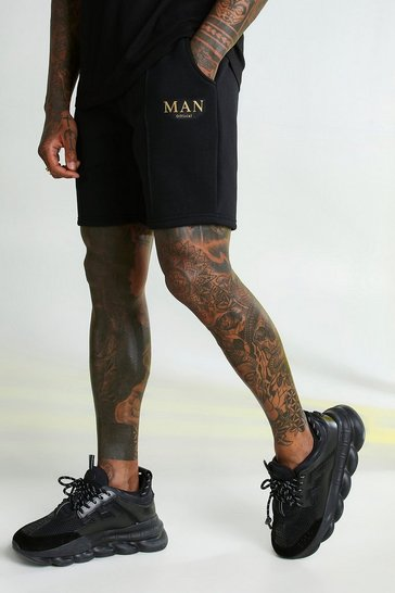 Black MAN Gold Shorts