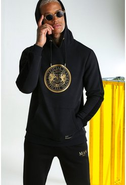 MAN Gold Hoodie With 3D Foil Print, Black