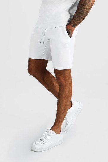 White Basic Mid Length Jersey Short