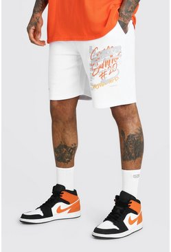 White MAN Official Reflective Graffiti Print Short