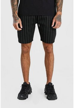 Black MAN Pinstripe Jacquard Mid Length Shorts