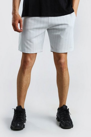 White MAN Pinstripe Jacquard Mid Length Shorts