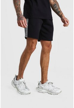 MAN Jacquard Check Panel Mid Length Shorts, Black