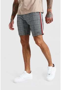 Black MAN Check Jacquard Tape Detail Mid Length Short