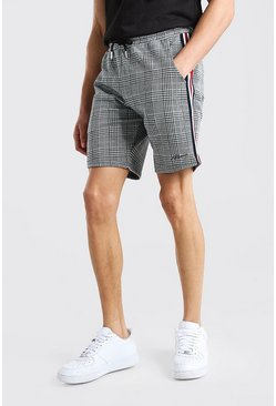 Black MAN Jacquard Tape Detail Mid Length Shorts