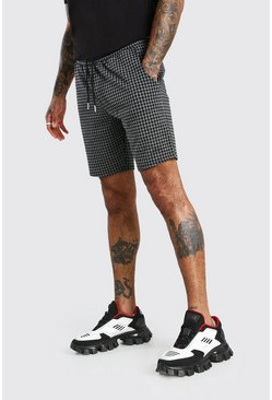 Charcoal Dogtooth Jacquard Mid Length Shorts