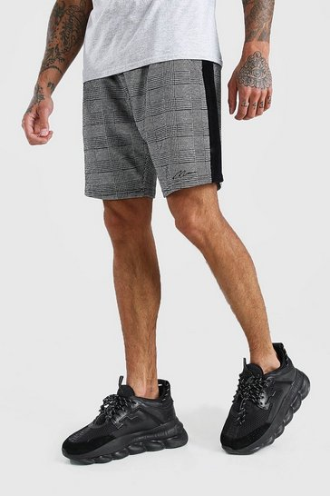 Black MAN Jacquard Velour Panel Mid Length Shorts