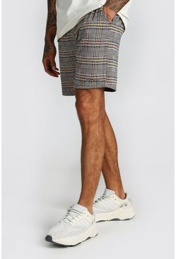 Orange Check Jacquard Mid Length Shorts