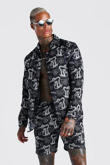 Black Long Sleeve Revere Collar Dragon Print Shirt