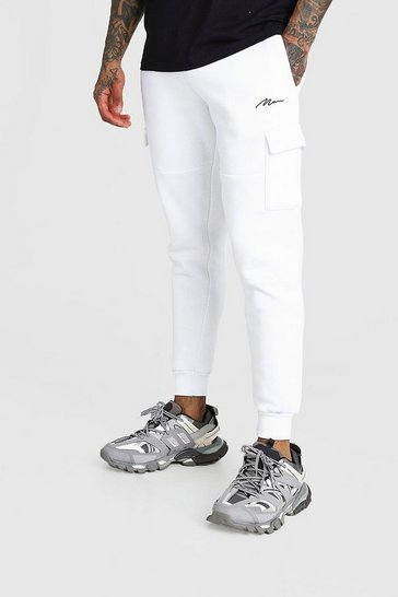 White MAN Signature Panelled Cargo Jogger