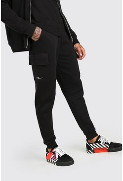 Black MAN Signature Slim Fit Cargo Joggers