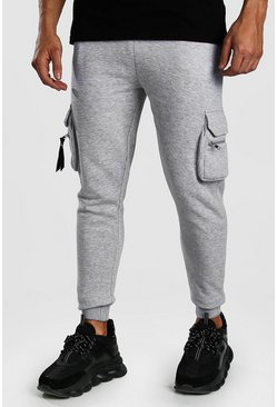 Grey marl Skinny Fit Cargo Zip Detail Joggers