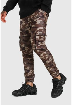 Camo Kamouflagemönstrade cargojoggers i slim fit