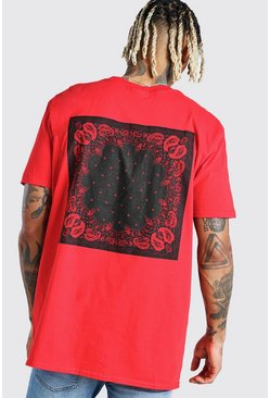 Red Oversized Original MAN Bandana Back Print T-Shirt