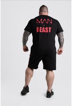 Black MAN x BEAST T-Shirt Short Set With Tape