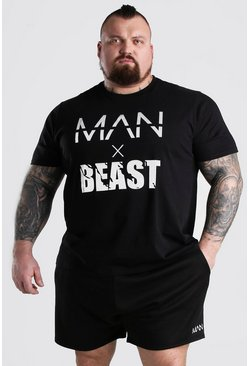 Black MAN x BEAST T-Shirt With Reflective Print