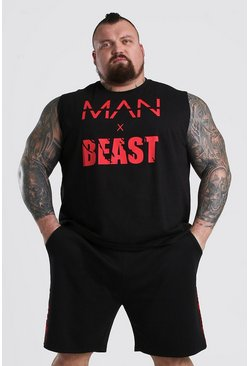 Black MAN x BEAST Tank With Back Tape