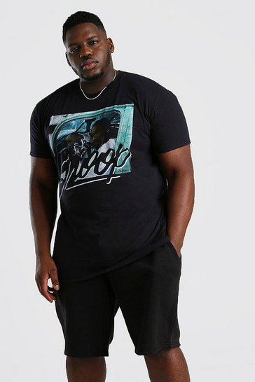 Black Big & Tall Snoop Car License T-Shirt