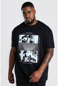 Black Big & Tall Statue Front Print T-Shirt