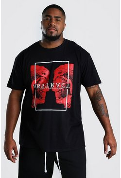 Black Big & Tall - T-shirt med abstrakt tryck